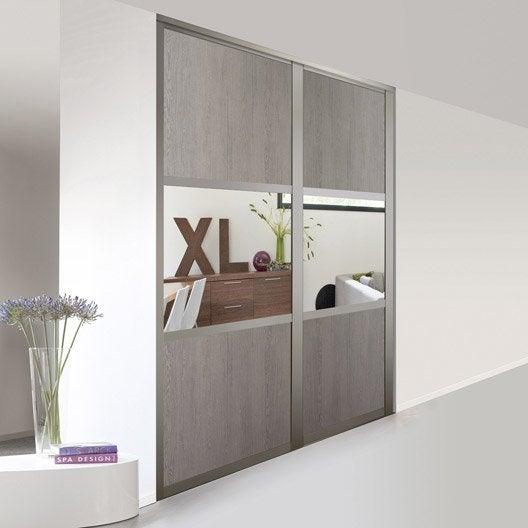 porte de placard coulissante sur mesure optimum bolero de 60 1 80 cm leroy merlin. Black Bedroom Furniture Sets. Home Design Ideas