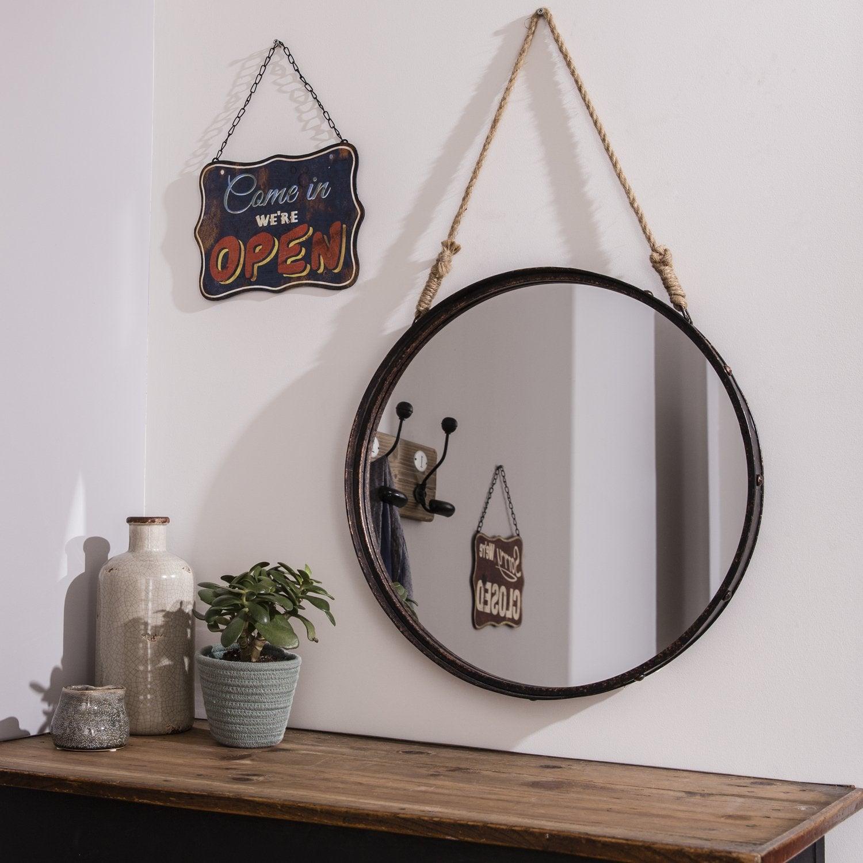 Un miroir rond avec une corde pour le suspendre leroy merlin - Miroir de salon ...