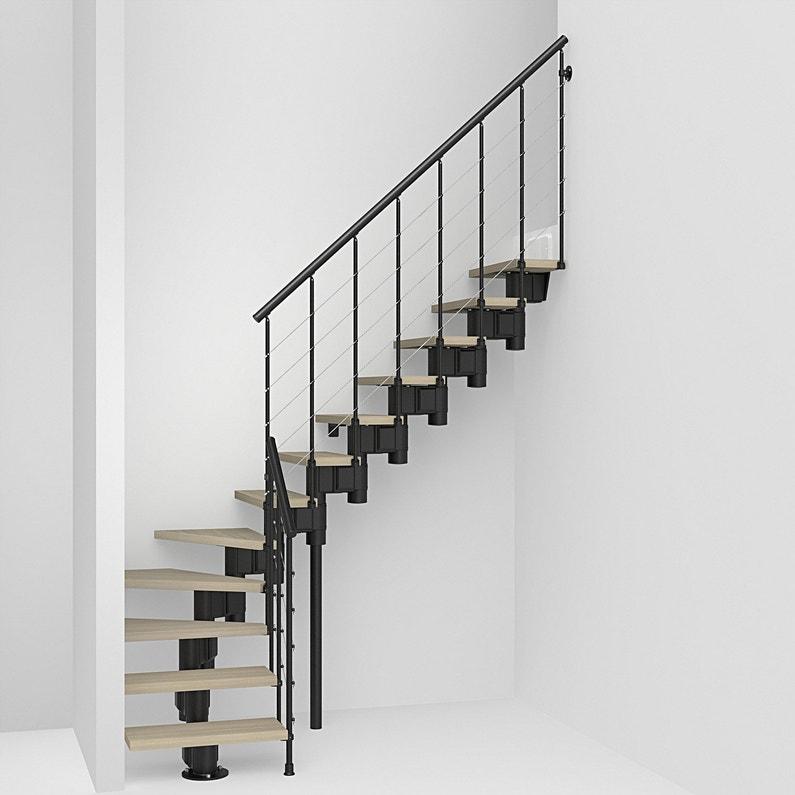 Escalier 1 4 Tournant Long Structure Acier Marche Bois Leroy Merlin