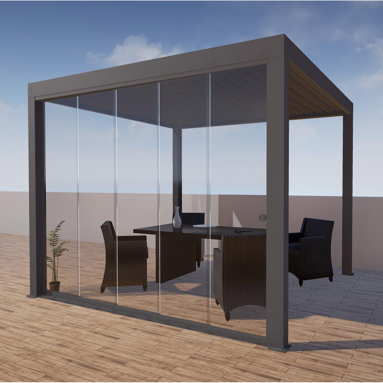 paroi vitr e pour tonnelle autoportante orient aluminium gris leroy merlin. Black Bedroom Furniture Sets. Home Design Ideas
