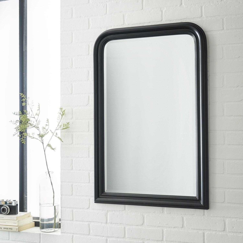 Miroir voltaire inspire noir x cm leroy merlin for Miroir seducta 90 cm