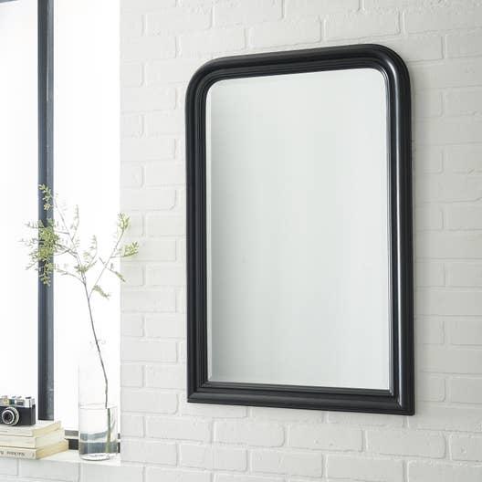 Miroir voltaire inspire noir x cm leroy merlin for Miroir 50 x 60