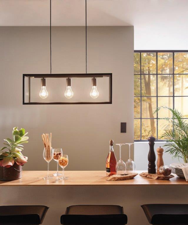 Suspension, e27 style industriel Charterhouse verre noir 3 x 60 W EGLO