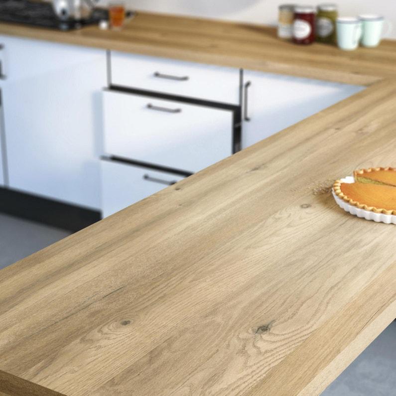 Plan De Travail Chene Ikea.Plan De Travail Stratifie Effet Chene Boreal Mat L 300 X P 65 Cm Ep 38 Mm