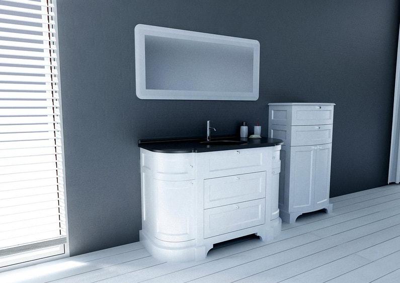 Meuble salle de bains 4 pièces l.130 x H.83 x P.55 cm, blanc et noir,  Charleston