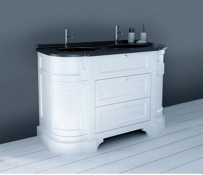 Meuble salle de bains 2 pièces l.130 x H.83 x P.55 cm, blanc et noir,  Charleston