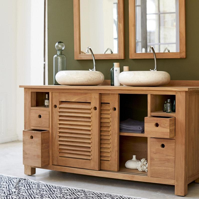 Meuble de salle de bains l.145 x H.80 x P.60 cm, teck, Coline