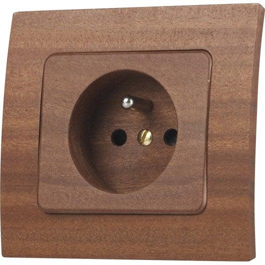 prise avec terre alisia bois modul design leroy merlin. Black Bedroom Furniture Sets. Home Design Ideas