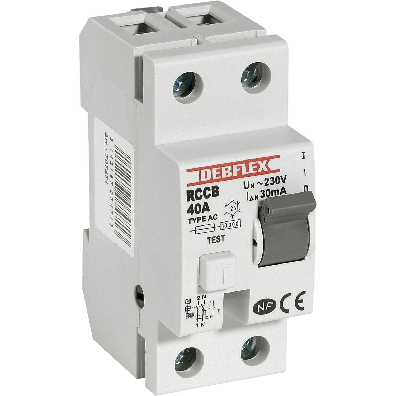 interrupteur différentiel debflex, 30 ma 40 a ac | leroy merlin - Disjoncteur Differentiel Pour Salle De Bain