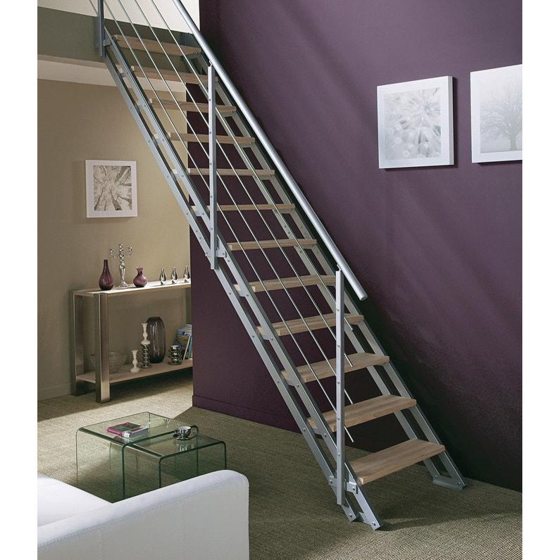 Escalier Modulaire Milieu Métal Gris Escavario 12 Marches Hêtre L 80 Cm
