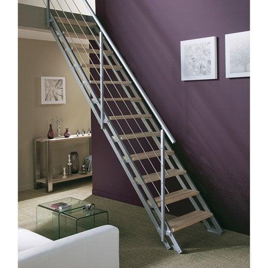 Escalier modulaire escavario structure m tal marche bois - Hauteur marche d escalier ...