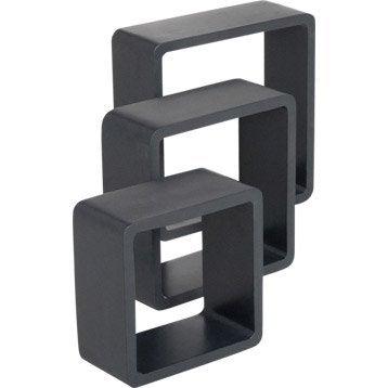 Etagère 3 cubes noir-noir n°0 SPACEO, L.28 x P.28 cm Ep.15 mm