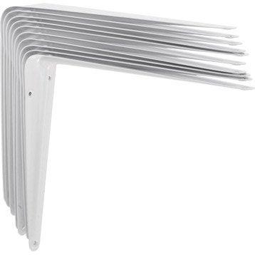 Lot de 10 équerres Emboutie acier epoxy blanc, H.20 x P.25 cm