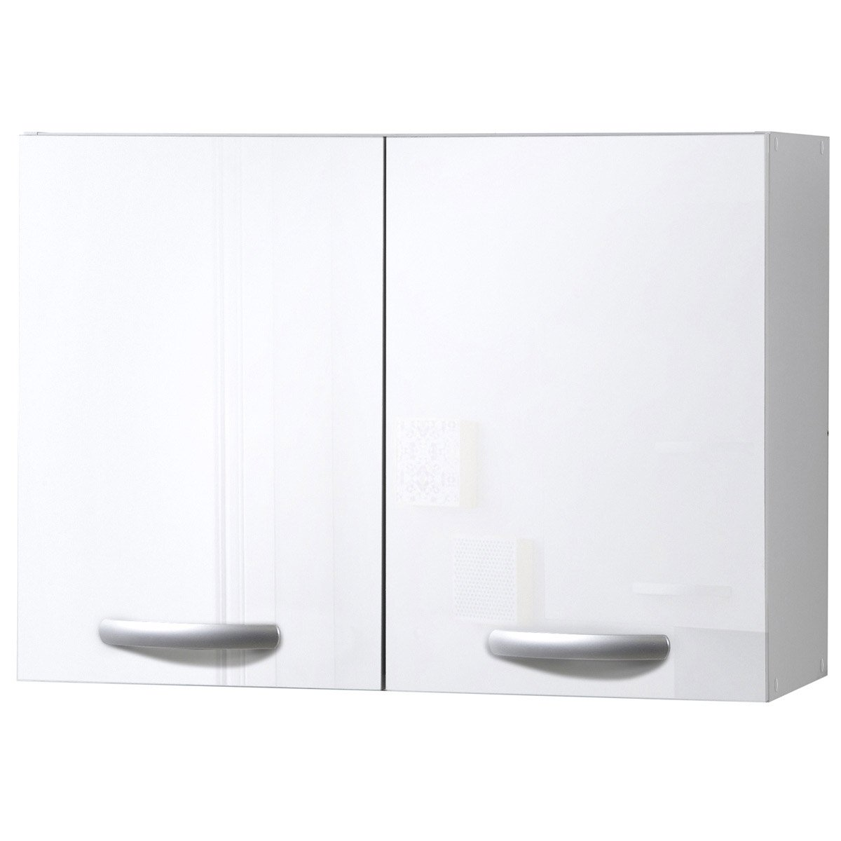 Meuble de cuisine haut 2 portes, blanc brillant, h57.9x l80x p35.2cm ...