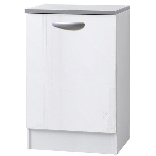 meuble de cuisine bas 1 porte blanc brillant h86x l60x
