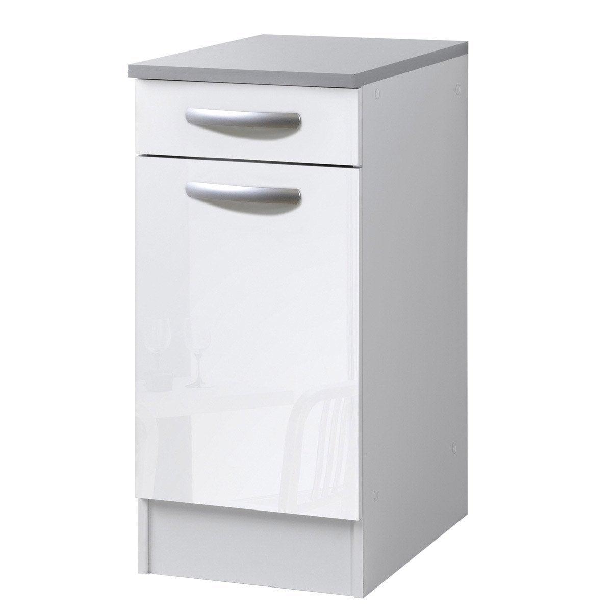 meuble de cuisine bas 1 porte 1 tiroir blanc brillant h86x l40x p60cm leroy merlin. Black Bedroom Furniture Sets. Home Design Ideas