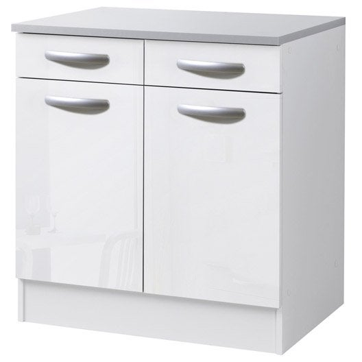 Meuble de cuisine bas 2 portes 2 tiroirs blanc brillant for Meuble 2 porte conforama
