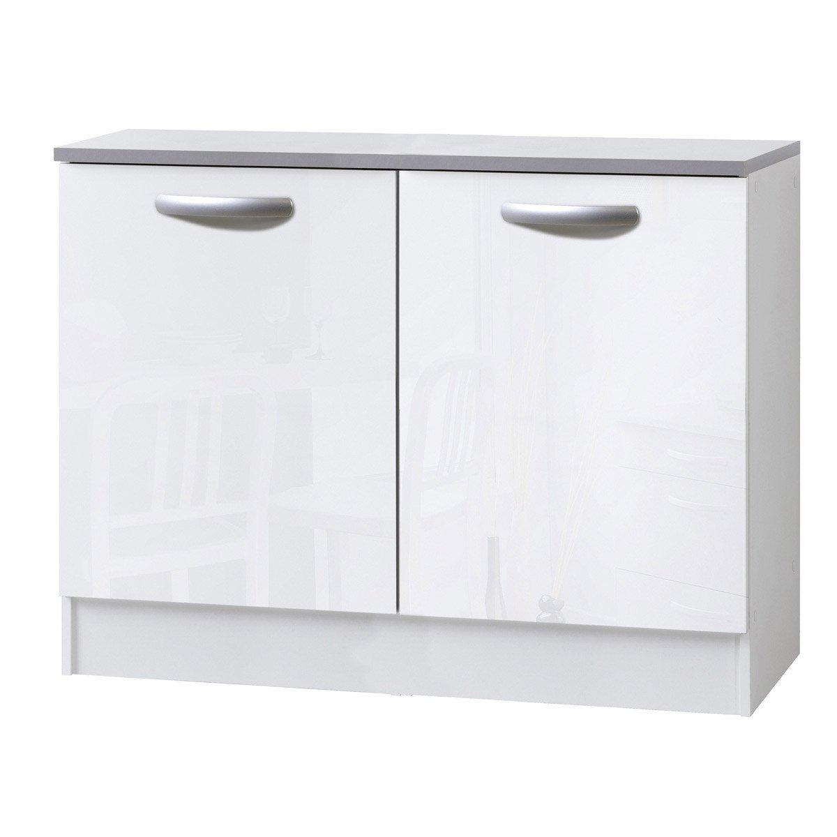 meuble de cuisine bas 2 portes blanc brillant h86x l120x p60cm
