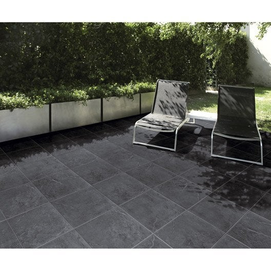 carrelage noir effet pierre ardenia x cm leroy merlin. Black Bedroom Furniture Sets. Home Design Ideas