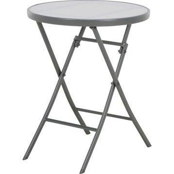 Table de jardin aluminium bois r sine leroy merlin for Petite table de jardin pvc