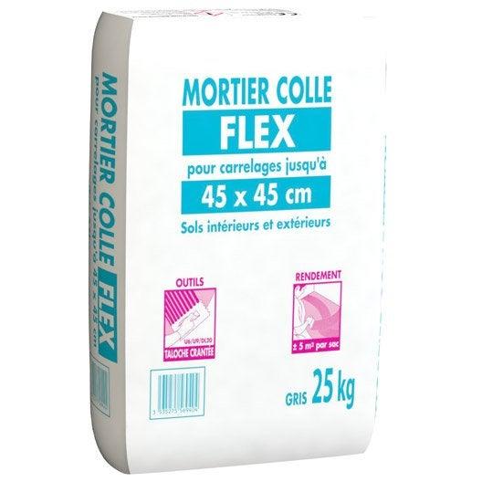 Mortier colle pour carrelage sol 25 kg gris leroy merlin for Mortier colle exterieur