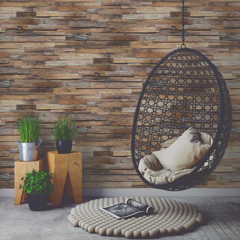 Papier peint intissé Planche de bois marron | Leroy Merlin