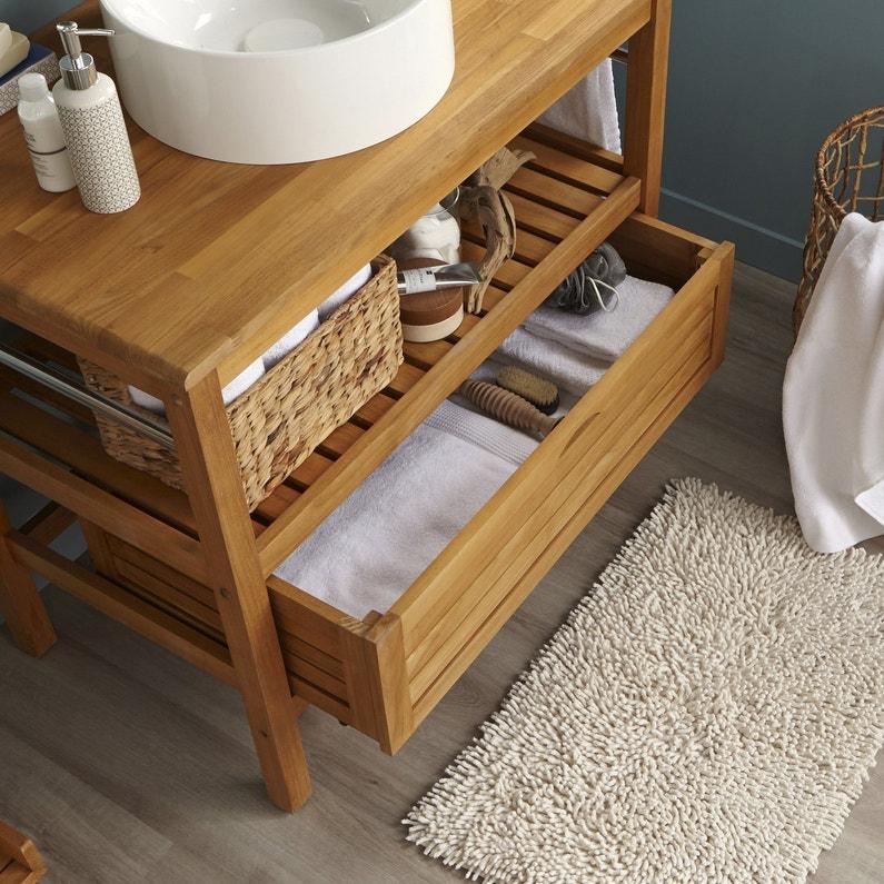 Un air de nature avec un meuble sous vasque en teck for Meuble sous vasque teck leroy merlin