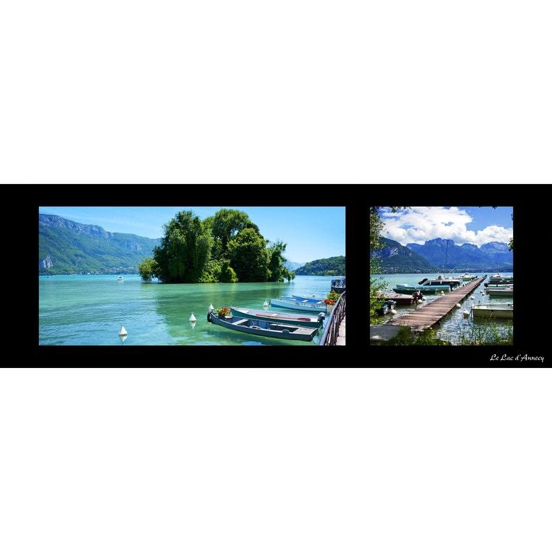 Toile Imprimée Barque Lac Annecy Multicolore Artis L135 X H45 Cm