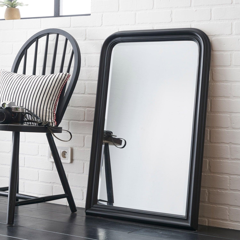 Miroir voltaire inspire noir x cm leroy merlin for Miroir 50 x 90