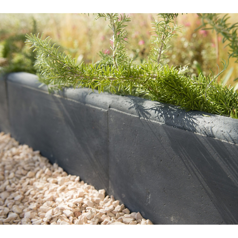 Bordure droite hauteur 16 cm b ton gris ardoise x l 5 cm leroy merlin - Pose bordure beton jardin ...