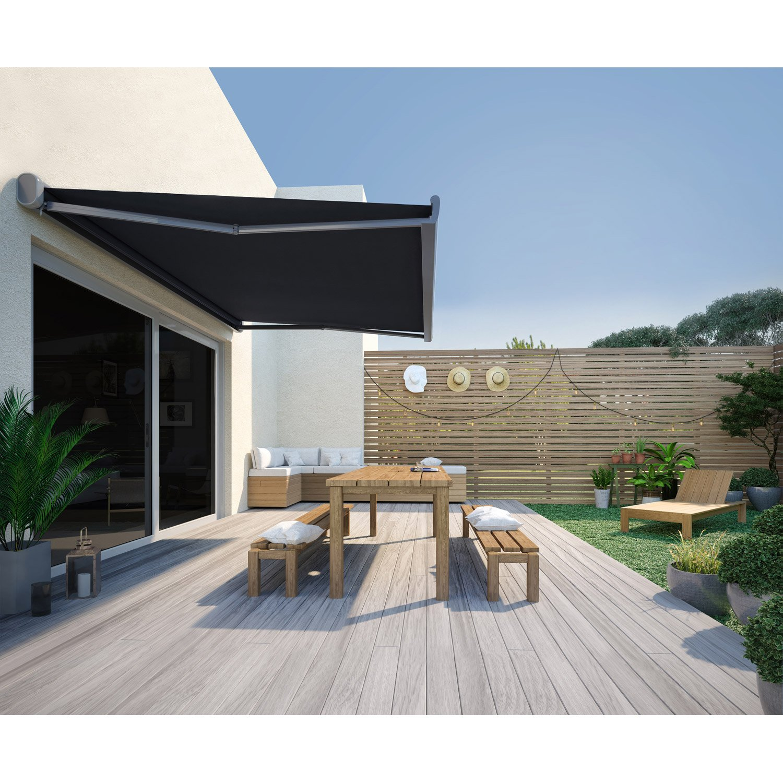 store banne motoris nori coffre int gral 5 x 3 m gris leroy merlin. Black Bedroom Furniture Sets. Home Design Ideas