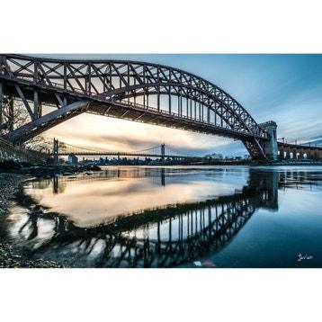 Verre Imprim Ponts De New York Multicolore L120 X H80