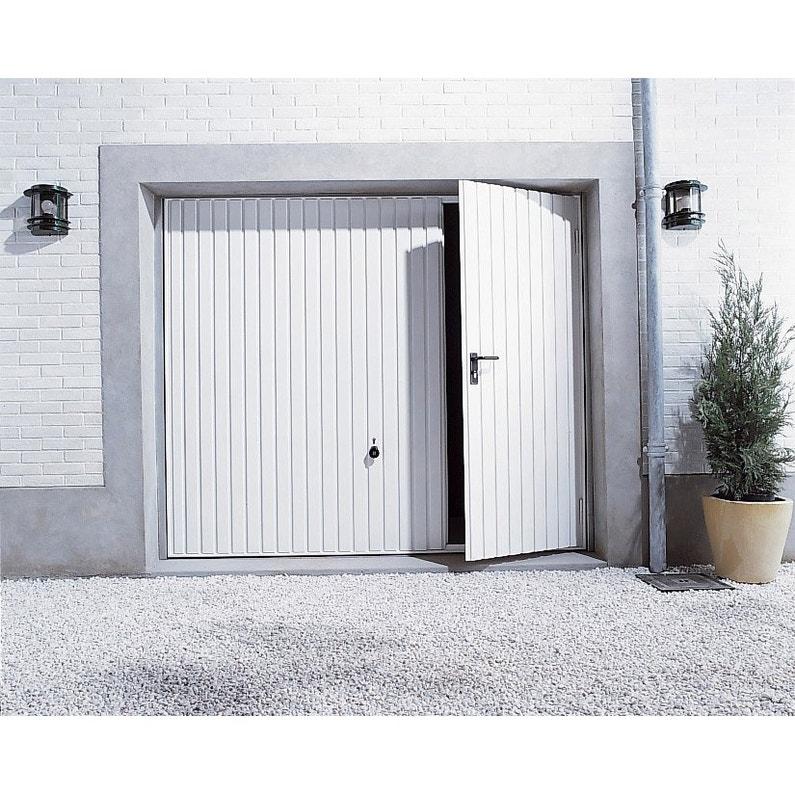 porte de garage manuelle d bordante avec portillon gauche x cm leroy merlin. Black Bedroom Furniture Sets. Home Design Ideas