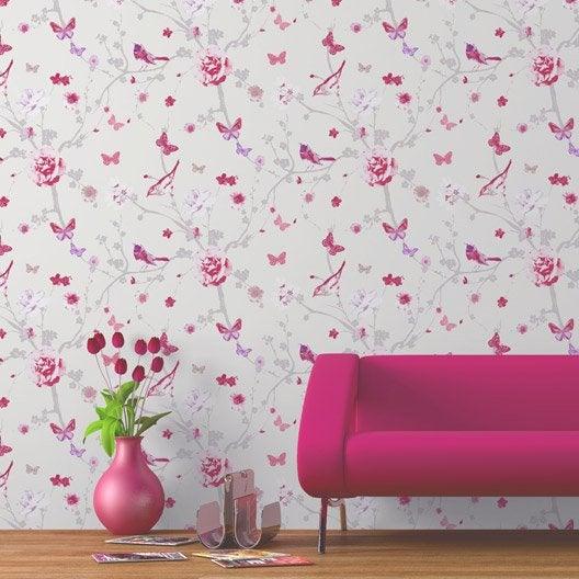 Papier peint intiss branch oiseau rose leroy merlin - Papiers peints leroy merlin ...