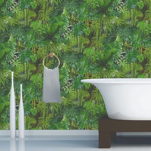 Papier peint vinyle expans sur papier mur v g tal vert larg m lero - Papier peint vinyle expanse ...