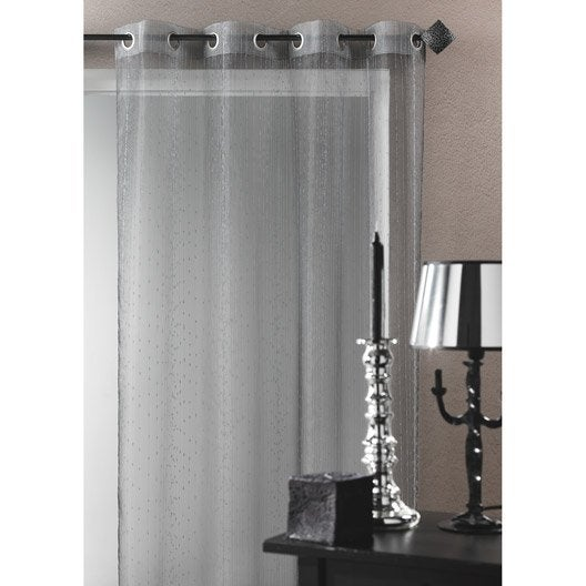 voilage tamisant grande largeur metalic gris x cm leroy merlin. Black Bedroom Furniture Sets. Home Design Ideas