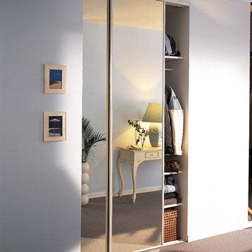 Lot de 2 portes de placard coulissante miroir argent l.120 x H.250 cm