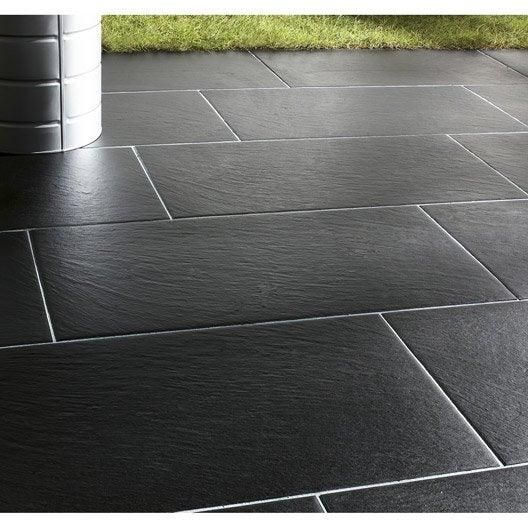 Carrelage noir effet pierre vesuvio x cm leroy merlin - Terras carrelage noir ...