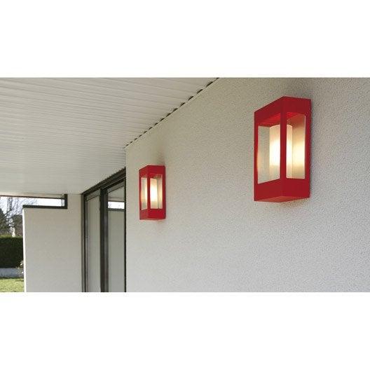 Applique ext rieure brick e27 60 w rouge ral 3020 roger for Plafonnier terrasse exterieure
