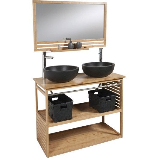 Meuble de salle de bains de 100 119 brun marron - Salle de bain italienne leroy merlin ...
