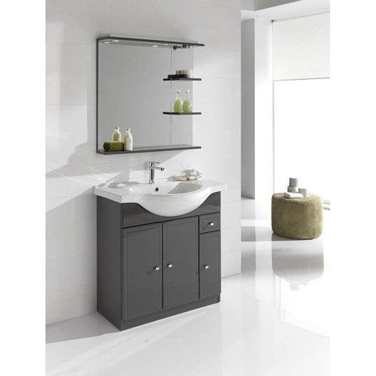 Meuble de salle de bains de 80 99 gris argent galice - Tablette salle de bain leroy merlin ...