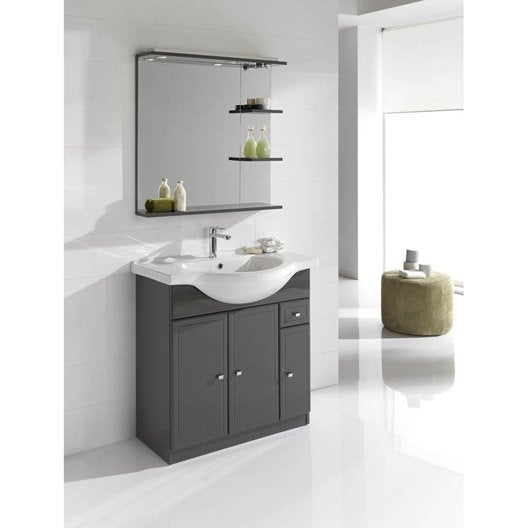 Meuble de salle de bains de 80 99 gris argent galice - Meuble salle de bain d angle leroy merlin ...