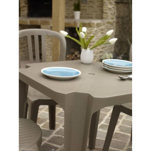 table de jardin basse grosfillex sun carr e taupe 4. Black Bedroom Furniture Sets. Home Design Ideas
