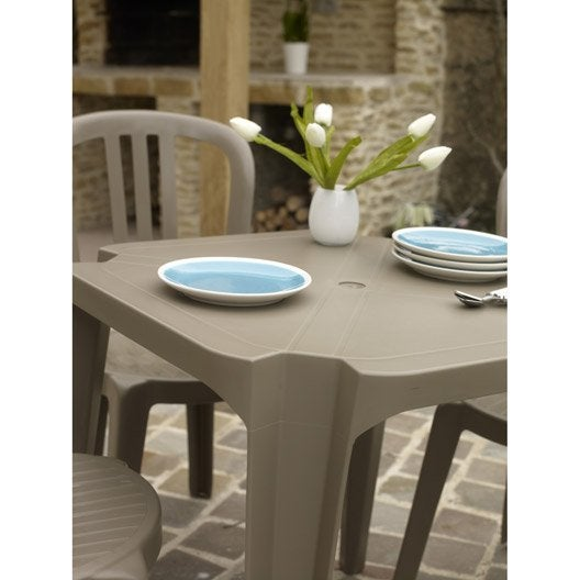 table de jardin basse grosfillex sun carr e taupe 4. Black Bedroom Furniture Sets. Home Design Ideas