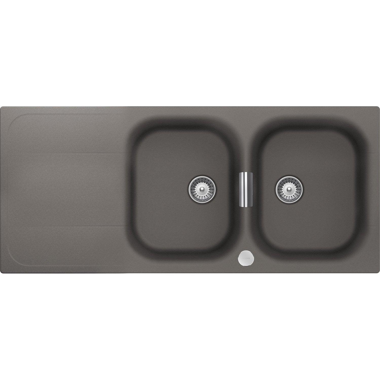 evier encastrer quartz et r sine gris sphere 2 bacs. Black Bedroom Furniture Sets. Home Design Ideas