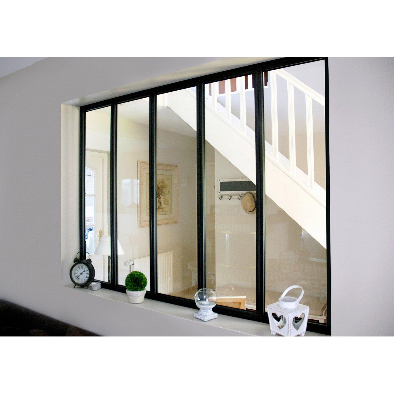 verrire dintrieur atelier en kit aluminium noir 5 vitrages h108 x l153 m leroy merlin