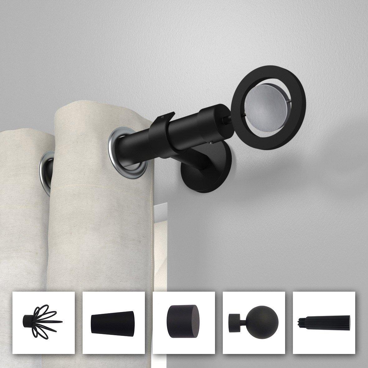 Tringle rideau composer inspire design d28 noir mat - Tringle a rideau noir ...