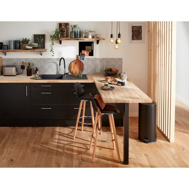 une cuisine qui joue avec la chaleur du bois leroy merlin. Black Bedroom Furniture Sets. Home Design Ideas