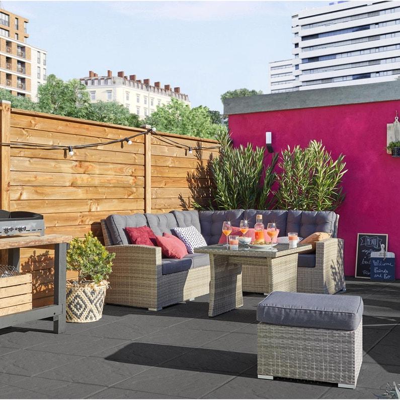 salon bas de jardin daveport r sine tress e gris 6. Black Bedroom Furniture Sets. Home Design Ideas