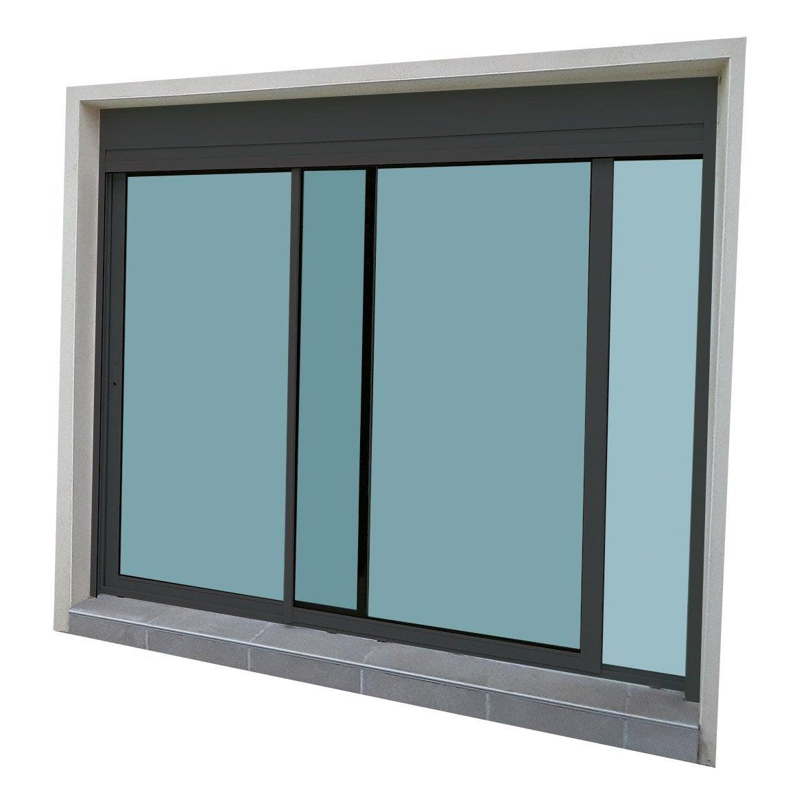 baie vitrée aluminium avec volet roulant brico essentiel, h.200 x l